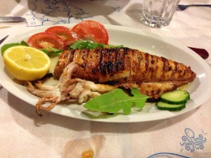 Grilled calamari on Patmos.