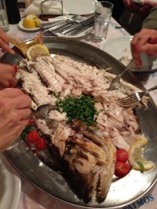 Fish dinner on Patmos.