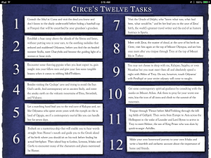 Circe's Twelve Tasks look easy in a large font.