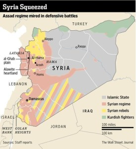 Map of contemporary Syria.  (Credit: The Wall Street Journal)