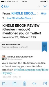 Kindle Ebook Review Tweet #1 tried to seduce sedentary readers.