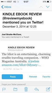 Kindle Ebook Review Tweet #5 is an excerpt from a magazine review.