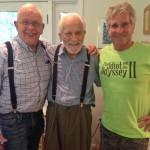 The Idiot and the octogenarian let 103-year-old Elliott Thompson  (center) set the pace for their hike.  (Photo: Karen Chambers)