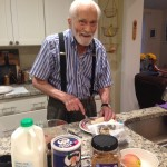 Elliott Thompson, 103, prepares a hearty, healthy oatmeal breakfast for The Idiot before he drives from Fairfax, VA, to Boston, MA.