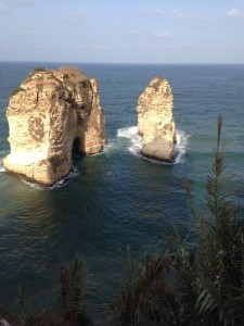 A stunning rock formation off the coast in Beirut.