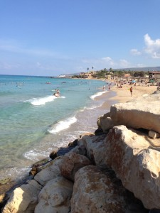 """A typical public beach near Nahariya (the name means """"rest and recreation"""") in northern Israel."""