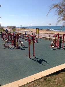 The Idiot frequently worked out at seaside exercise stations.
