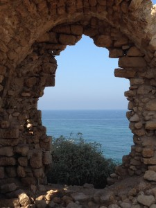 A view of the Mediterranean from a ruin in the Ahskelon National Park.
