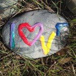 A 2016 Valentine's Day look at the LOVE rock that The Idiot left in the Peace Labyrinth on the Sacramento River Trail in Redding, CA, on three years ago. The L and the E are both chipped.