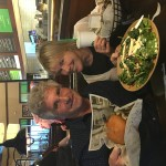 What do The Idiot and partner Liz Chapin choose to eat at Wahlburgers in the Hingham (MA) Shipyard for their last meal together after a month on the East Coast?  Think spinach salad, portobello mushrooms and a half-pound O.F.D. (Originally from Dorchester) burger. (Photo: Aaron Smith)