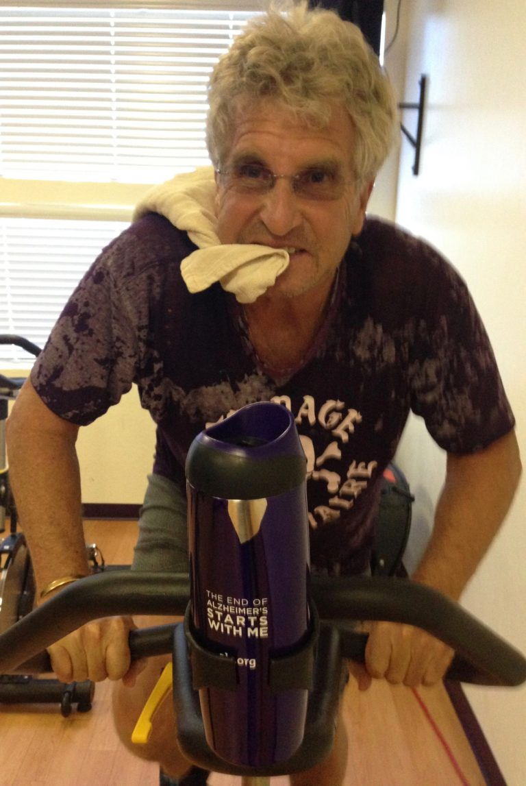 The Idiot's first real sweat of the day occurs during a spinning class in a fan-filled room. (Photo: Liz Chapin)