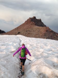 The last steps to the Mount Lassen summit.