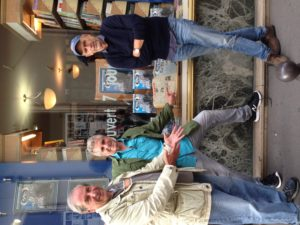 Checking out a window display promoting The Paris Metro 40th Anniversay Issue with former Metro colleagues Stanley Hertzberg and Tom Moore. (Photo: Liz Chapin)