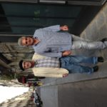 Strolling on l'Ile Saint Louis, where he lived from 1976-82, with John Keeney, the publisher of The Idiot and the Odyssey: Walking the Mediterranean.