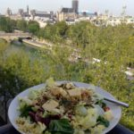 After dining at La Tour d'Argent, Chez René, the Alcazar and Chez Camille during the weekend, The Idiot prepares a simple salad with taboulé, Reblochon cheese, sunflower seeds and multiple greens/salads sprinkled with a mustard/oil/balsamic/herb dressing.
