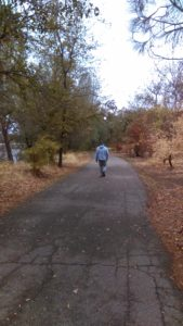 Practicing a solo stroll for his November MedTrek in Egypt. (Photo: Liz Chapin)